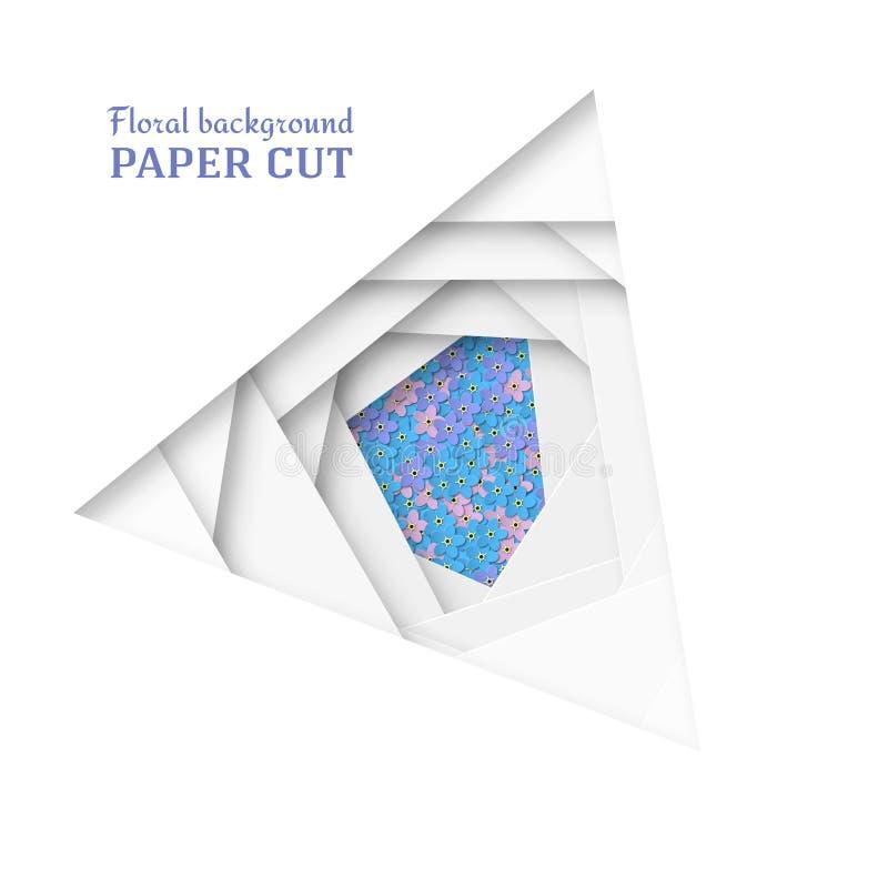 Fondo cortado de papel en blanco Azul delicado, rosa, nomeolvides púrpura de las flores Diseño grabado en relieve de varias capas ilustración del vector