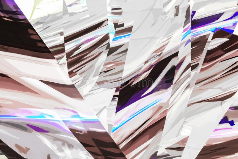 Fondo cortado en pedazos abstracto con gris plateados y marrones con puntos culminantes brillantes p?rpuras libre illustration