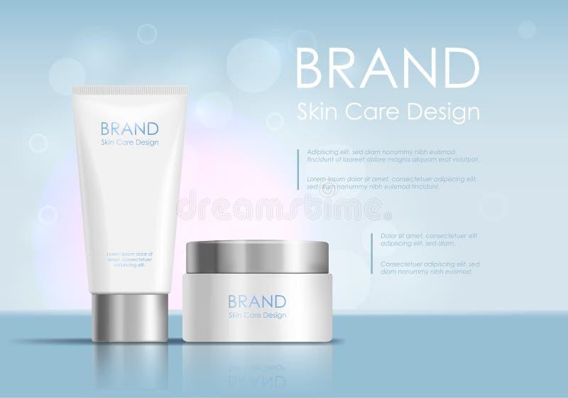 Fondo cosmético de la tarjeta del concepto del anuncio del tubo del producto Vector ilustración del vector
