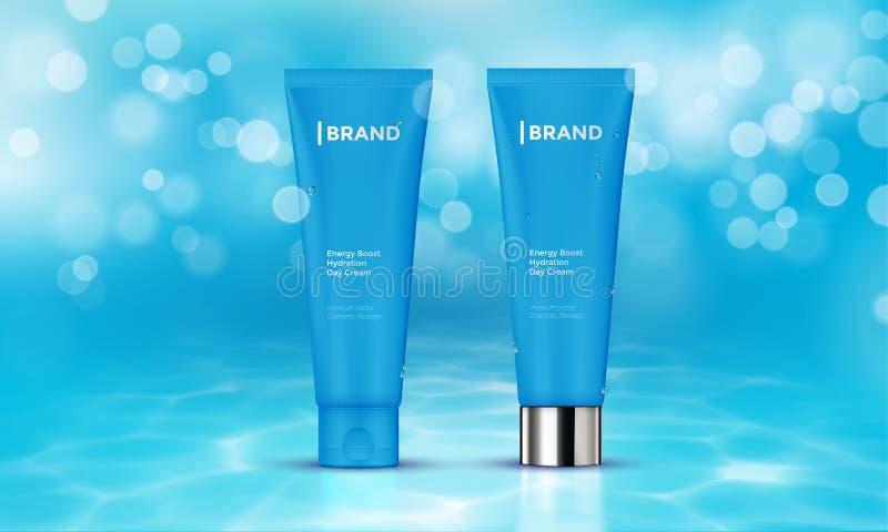 Fondo cosmético del agua de la crema del cuidado de piel de la plantilla del vector de la publicidad del paquete stock de ilustración