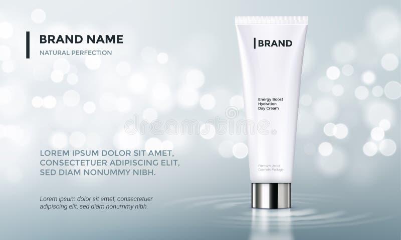 Fondo cosmetico dell'acqua della crema di cura di pelle del modello di vettore di pubblicità del pacchetto illustrazione vettoriale
