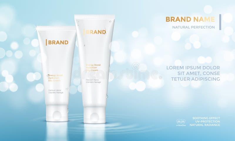 Fondo cosmetico dell'acqua della crema di cura di pelle del modello di vettore di pubblicità del pacchetto royalty illustrazione gratis