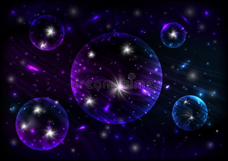 Fondo cosmico al neon astratto illustrazione vettoriale