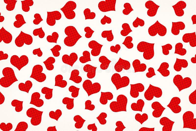 Fondo creado de Dots Hearts de semitono rojo dispersado ilustración del vector