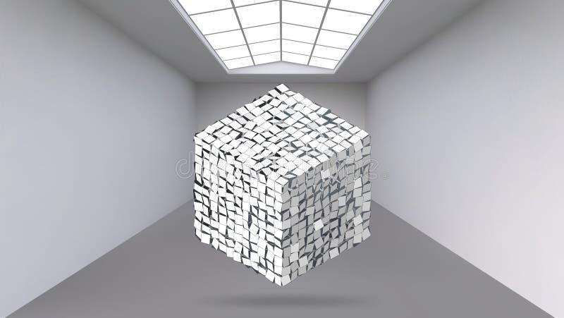 Fondo creativo abstracto de formas geométricas - cubo del vector del concepto en el cuarto grande del estudio con la ventana mode ilustración del vector