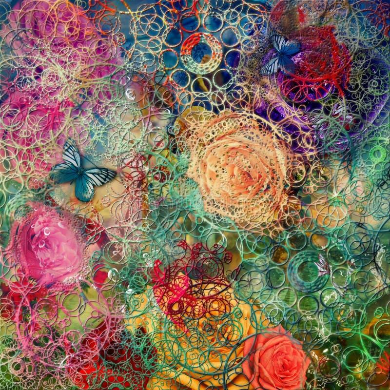 Fondo creativo con gli elementi floreali e le strutture differenti illustrazione di stock
