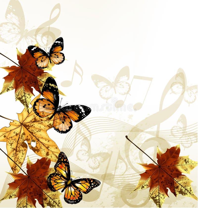 Fondo creativo de la música del arte con las hojas, las notas y la mota del otoño ilustración del vector