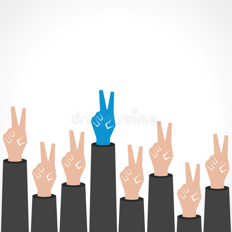 Fondo creativo de la mano de la victoria ilustración del vector