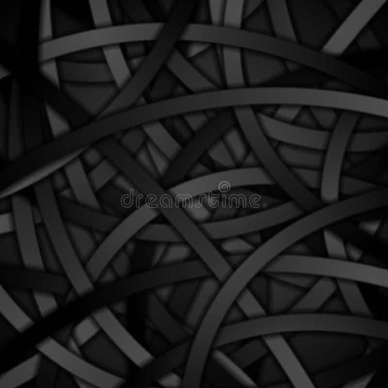 Fondo creativo de rayas curvadas negro stock de ilustración