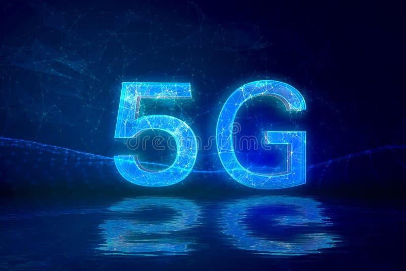 Fondo creativo del collegamento, telefono cellulare con l'ologramma 5G sui precedenti di nuova era del mondo, il concetto della r fotografia stock libera da diritti