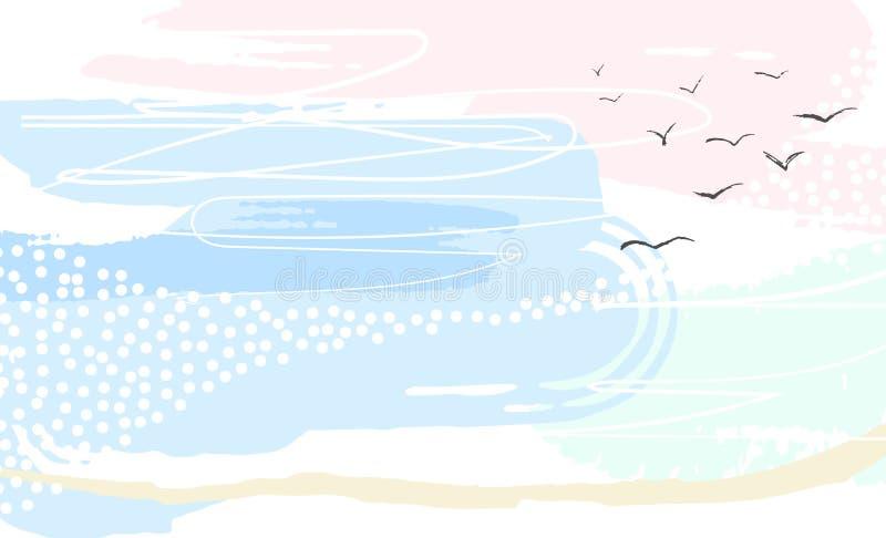 Fondo creativo del color en colores pastel con diseño retro del cielo stock de ilustración