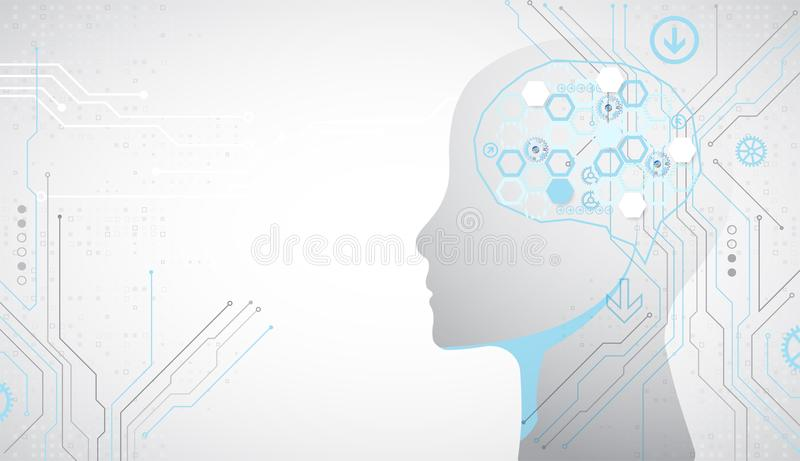 Fondo creativo del concepto del cerebro Conce de la inteligencia artificial ilustración del vector