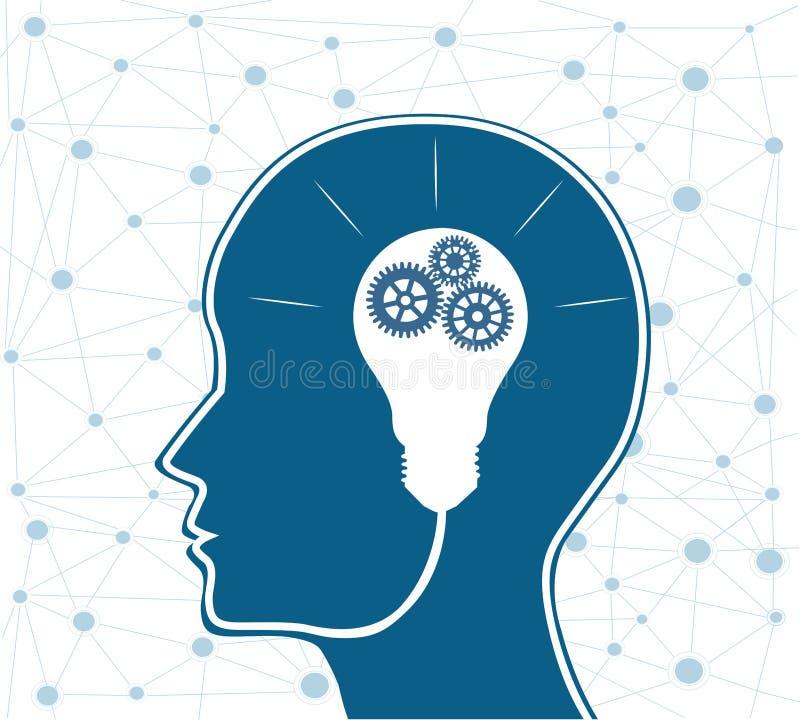 Fondo creativo del concepto del cerebro Inteligencia artificial stock de ilustración