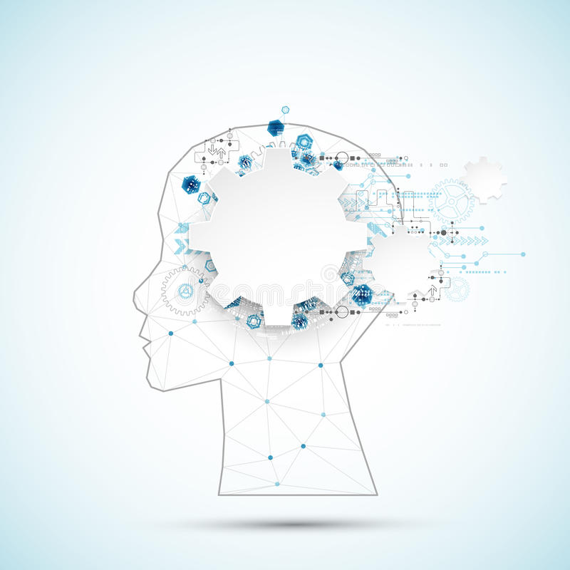 Fondo creativo del concepto del cerebro con rejilla triangular Artifici ilustración del vector