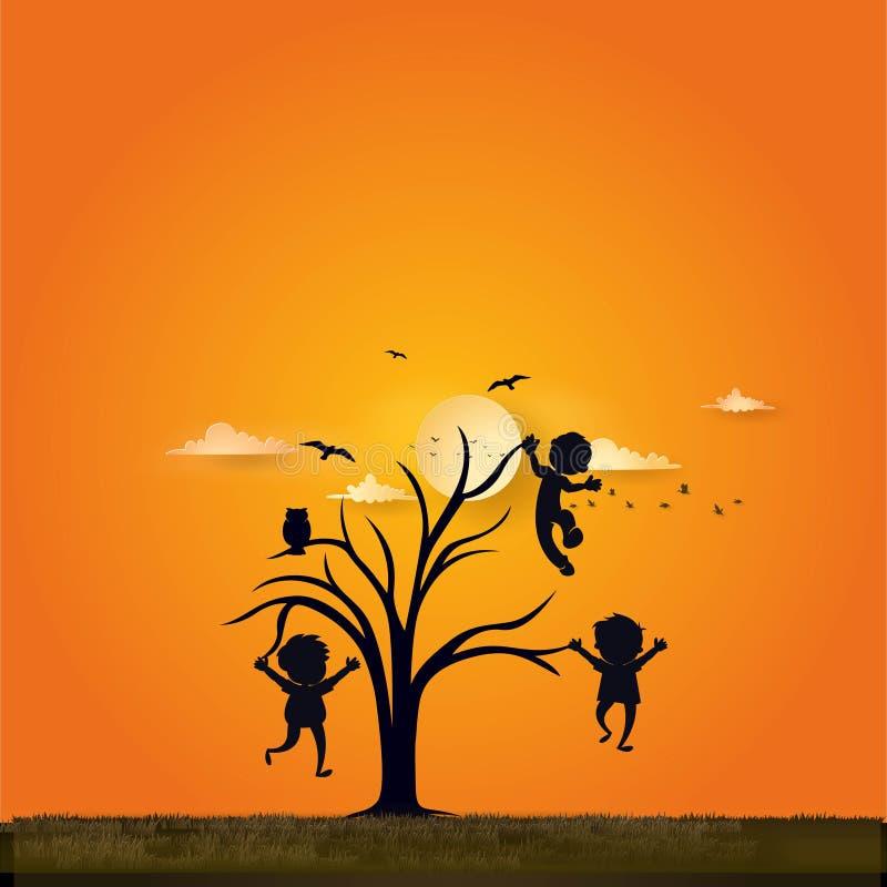 Fondo creativo del gioco di bambini al tramonto royalty illustrazione gratis