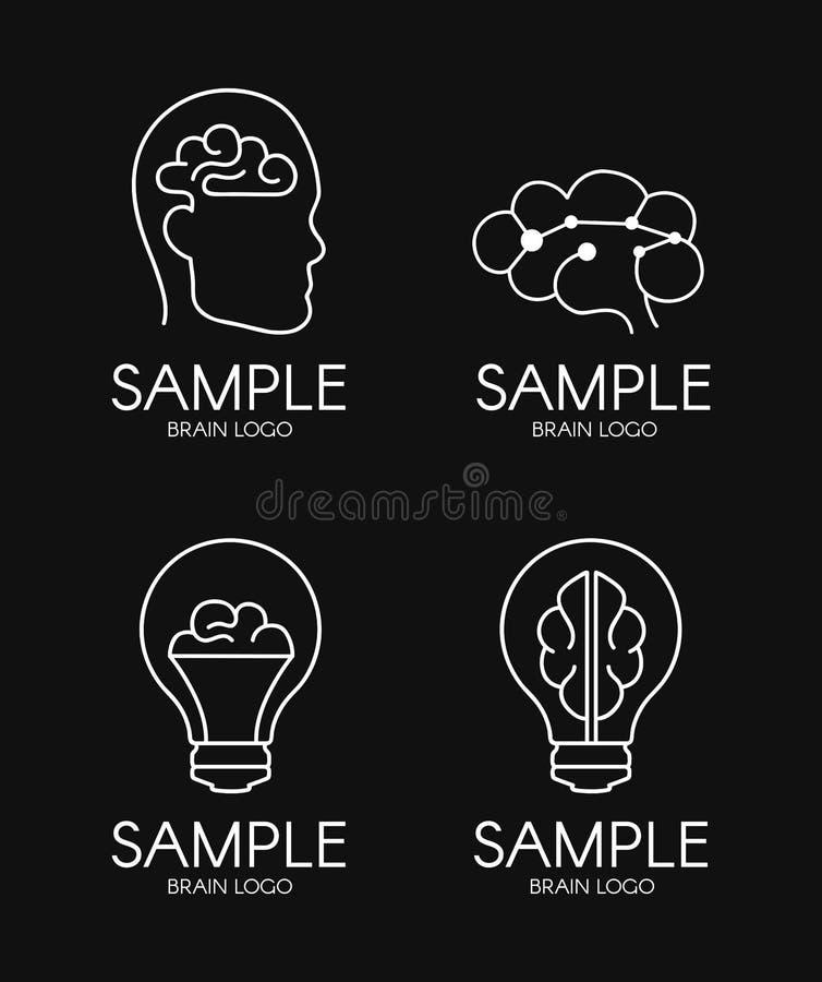 Fondo creativo del negro del diseño del logotipo de la idea de la psicología del cerebro libre illustration