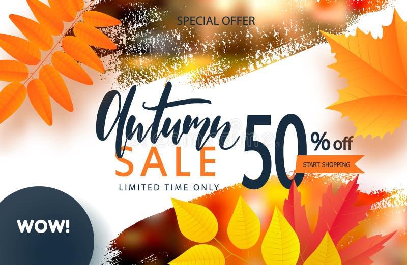 Fondo creativo del otoño con las hojas y el movimiento coloridos del cepillo Cartel o tarjeta estacional de la caída de la planti stock de ilustración