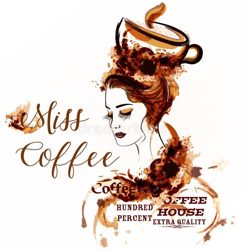Fondo creativo del vector con el retrato de la muchacha dibujado por el café s stock de ilustración