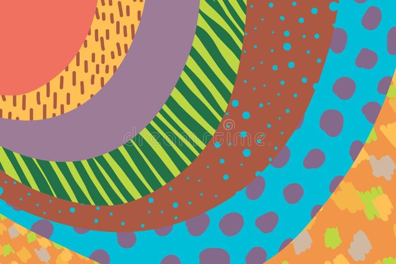 Fondo creativo di arte disegnato a mano nei colori vibranti collage Vettore Strutture per il cartello dell'invito della copertura illustrazione di stock