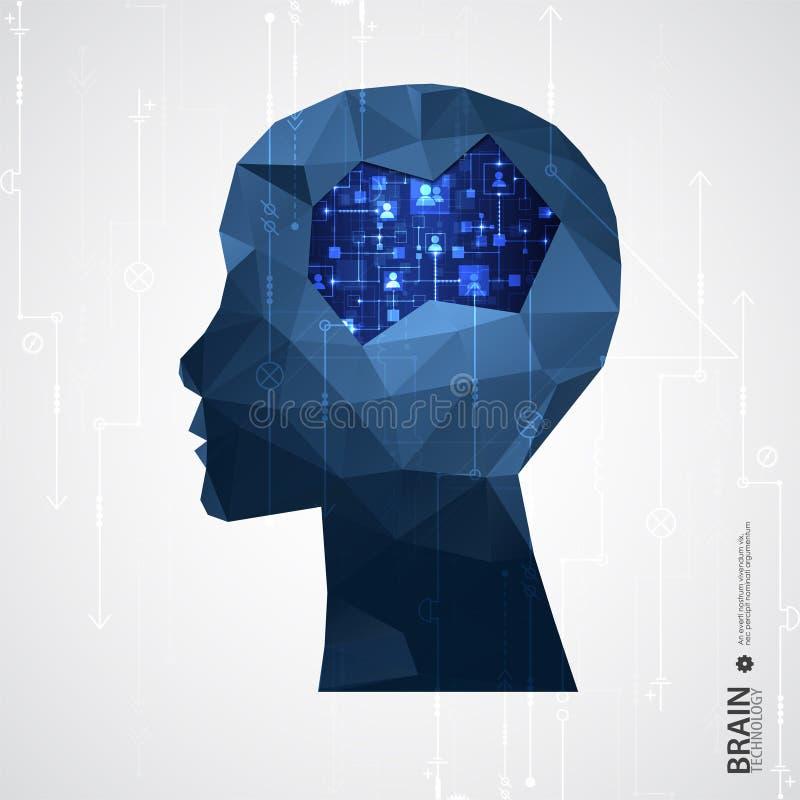 Fondo creativo di concetto del cervello con la griglia triangolare royalty illustrazione gratis