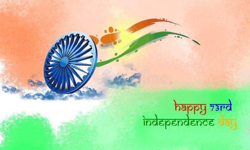 Fondo creativo di concetto di settantatreesima festa dell'indipendenza indiana felice fotografia stock libera da diritti