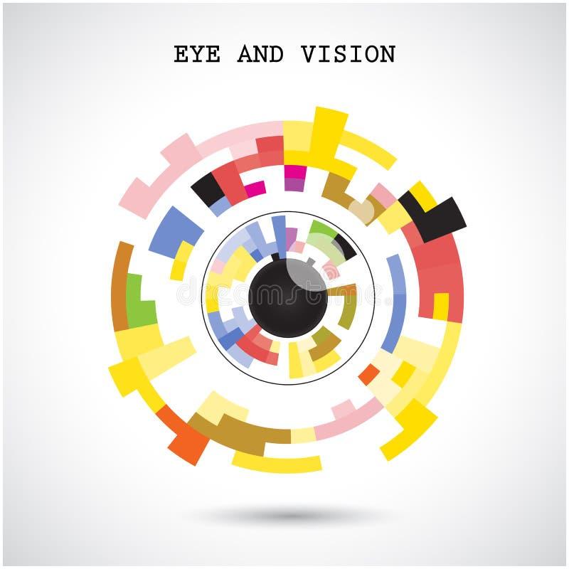 Fondo creativo di progettazione di logo di vettore dell'estratto del cerchio Occhio e illustrazione vettoriale