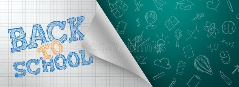 Fondo creativo, inscripción de nuevo a escuela, elementos de la educación y espacio para el texto en el fondo Aviador, cartel par ilustración del vector