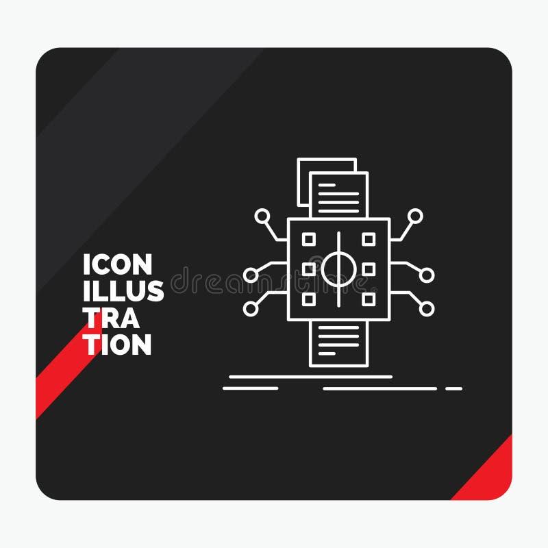 Fondo creativo rojo y negro de la presentación para el análisis, datos, dato, proceso, divulgando la línea icono stock de ilustración