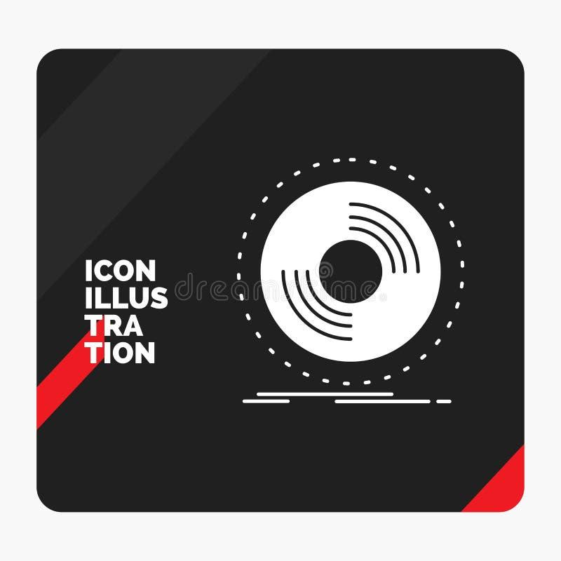 Fondo creativo rojo y negro de la presentación para el disco, DJ, fonógrafo, expediente, icono del Glyph del vinilo stock de ilustración