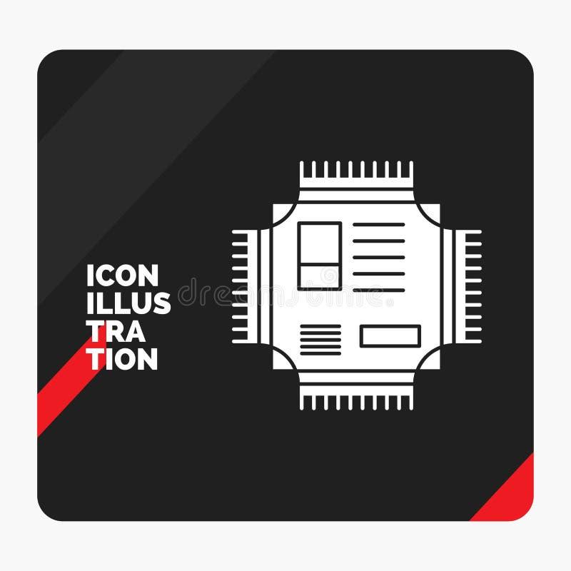 Fondo creativo rojo y negro de la presentación para el microprocesador, CPU, microchip, procesador, icono del Glyph de la tecnolo stock de ilustración