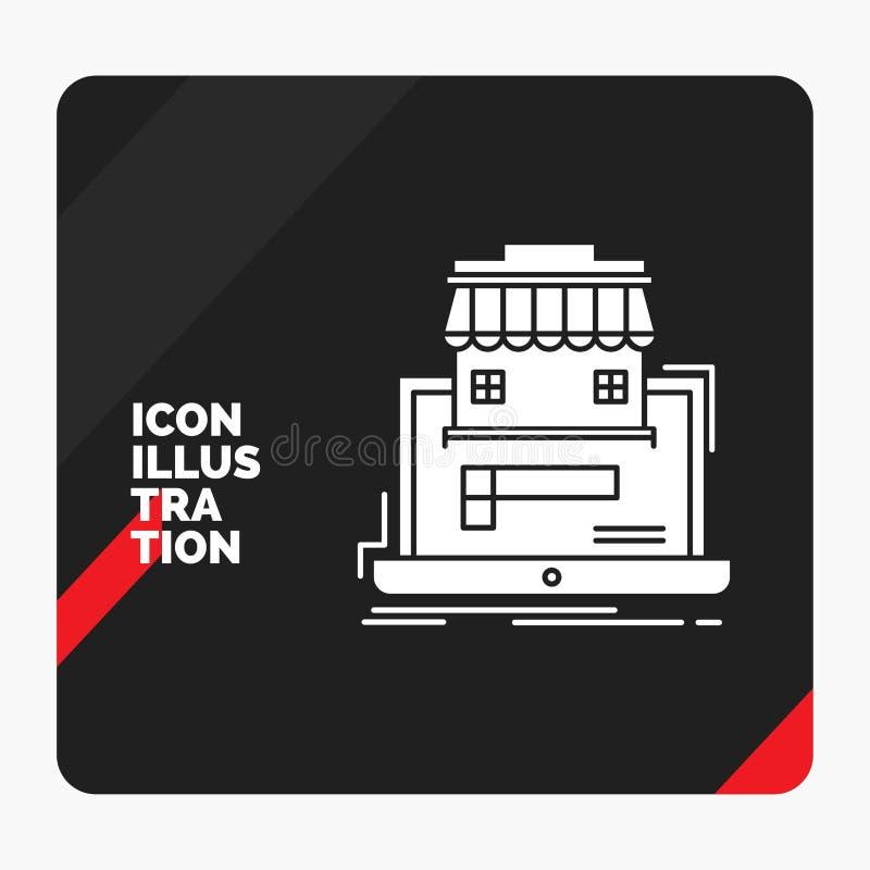 Fondo creativo rojo y negro de la presentación para el negocio, mercado, organización, datos, icono en línea del Glyph del mercad libre illustration