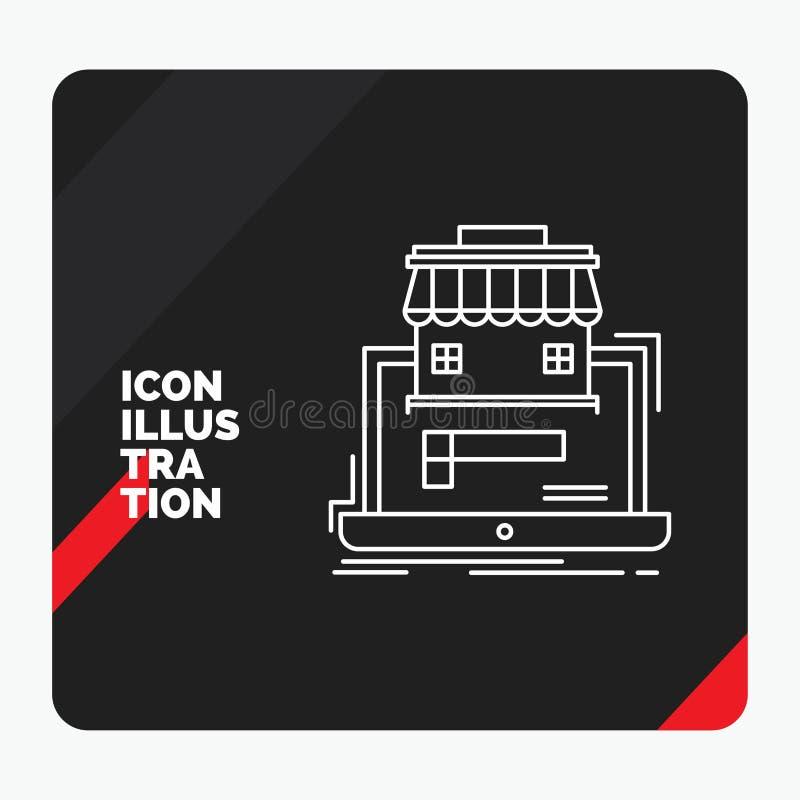 Fondo creativo rojo y negro de la presentación para el negocio, mercado, organización, datos, línea en línea icono del mercado libre illustration