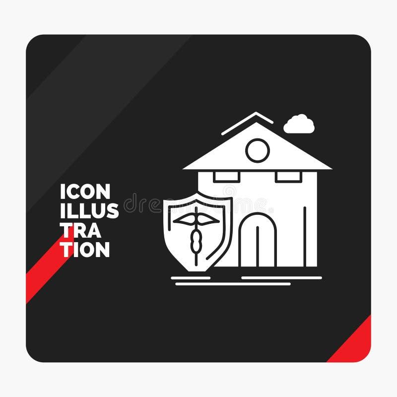 Fondo creativo rojo y negro de la presentación para el seguro, hogar, casa, muerte, icono del Glyph de la protección ilustración del vector