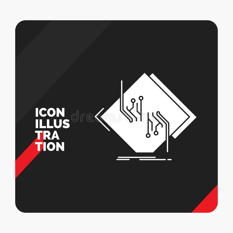 Fondo creativo rojo y negro de la presentación para el tablero, microprocesador, circuito, red, icono electrónico del Glyph stock de ilustración