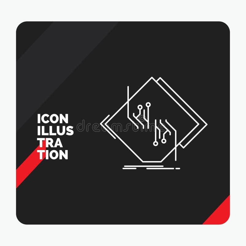 Fondo creativo rojo y negro de la presentación para el tablero, microprocesador, circuito, red, línea electrónica icono libre illustration