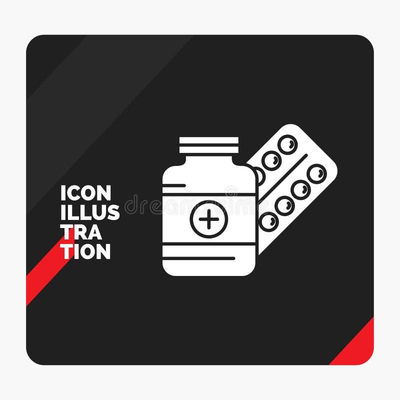 Fondo creativo rojo y negro de la presentación para la medicina, píldora, cápsula, drogas, icono del Glyph de la tableta stock de ilustración