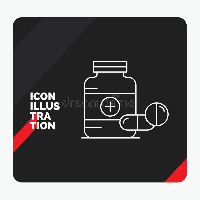 Fondo creativo rojo y negro de la presentación para la medicina, píldora, cápsula, drogas, línea icono de la tableta ilustración del vector