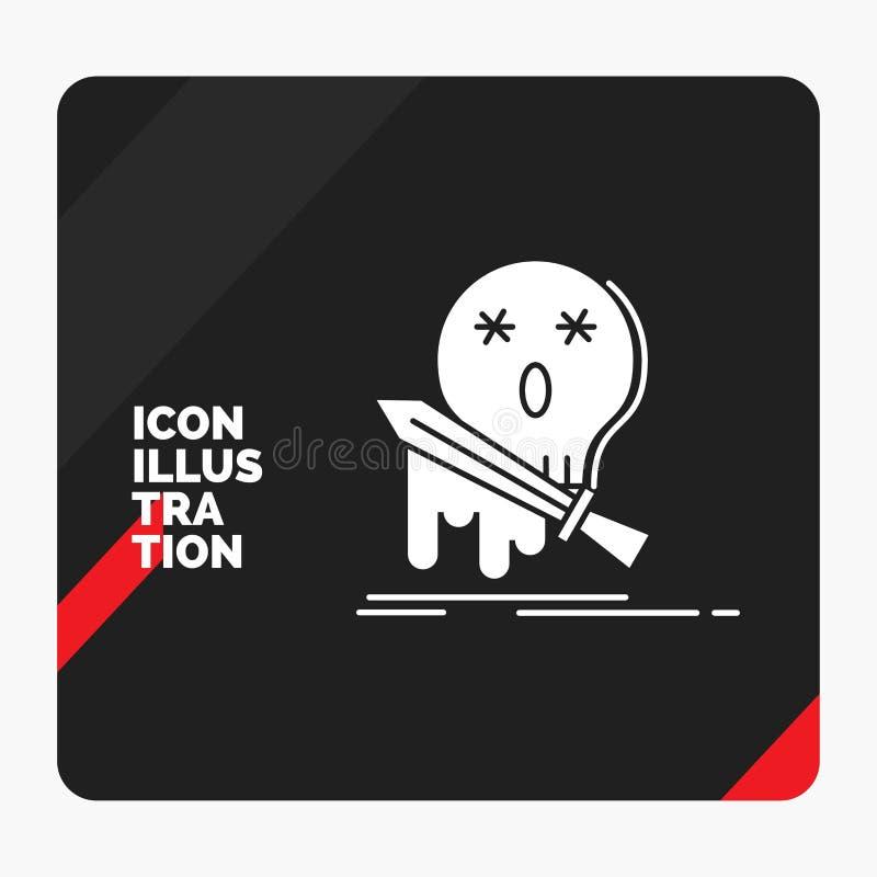 Fondo creativo rojo y negro de la presentación para la muerte, frag, juego, matanza, icono del Glyph de la espada libre illustration