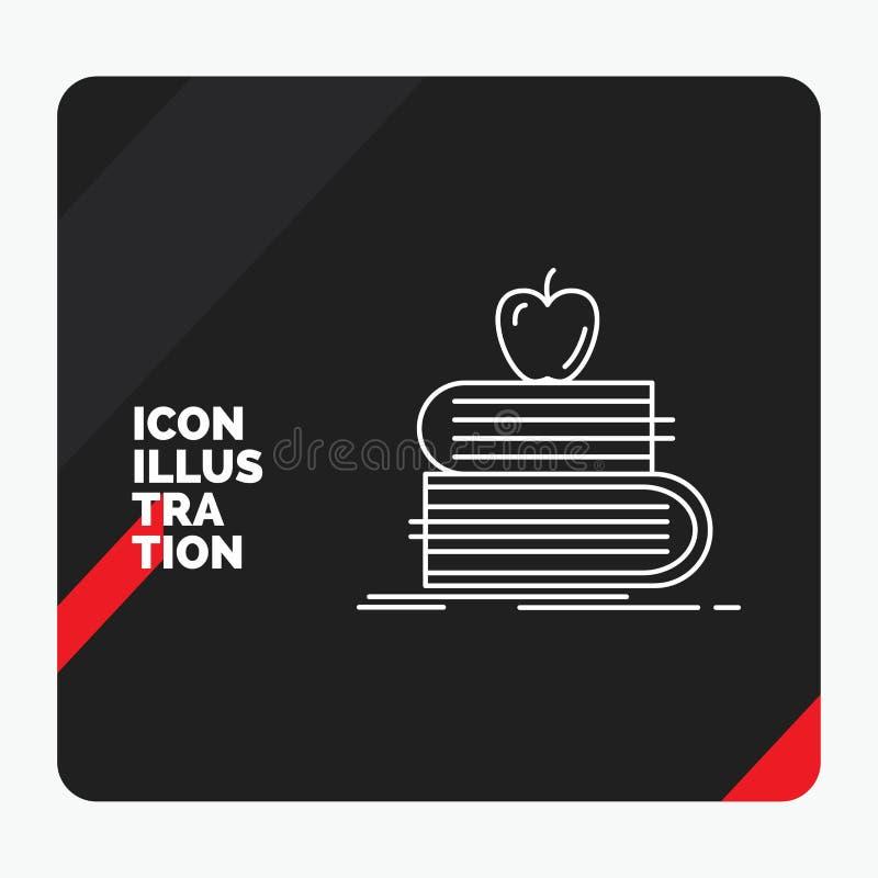 Fondo creativo rojo y negro de la presentación para de nuevo a la escuela, escuela, estudiante, libros, línea icono de la manzana stock de ilustración