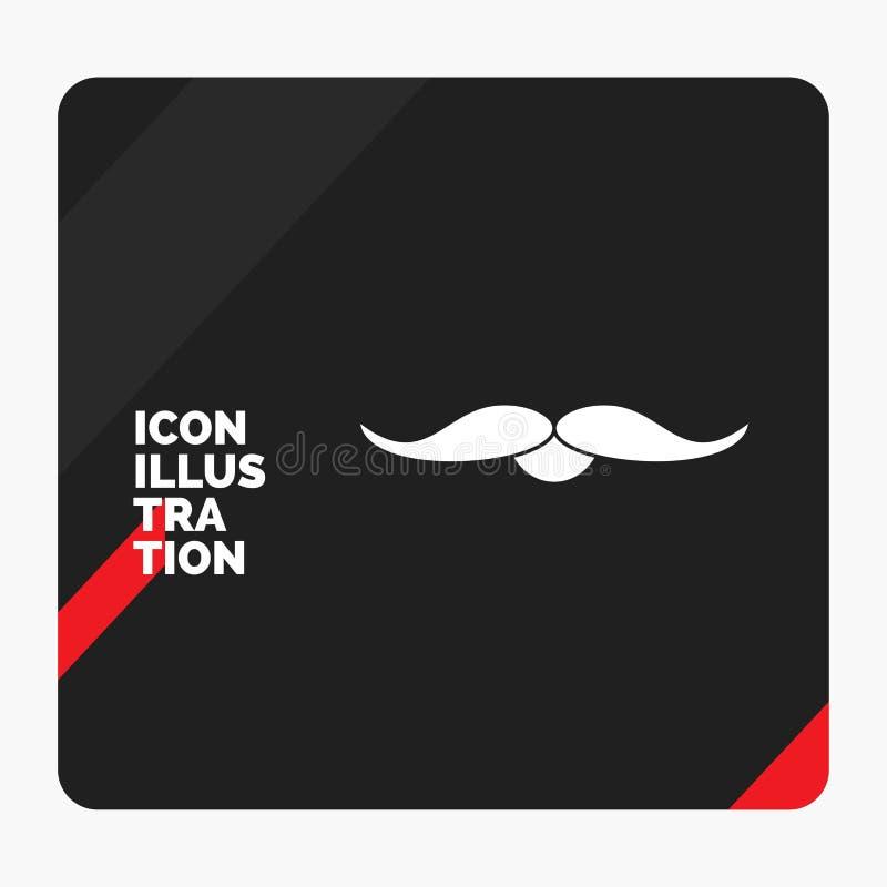 Fondo creativo rojo y negro de la presentaci?n para el bigote, inconformista, movember, var?n, icono del Glyph de los hombres ilustración del vector