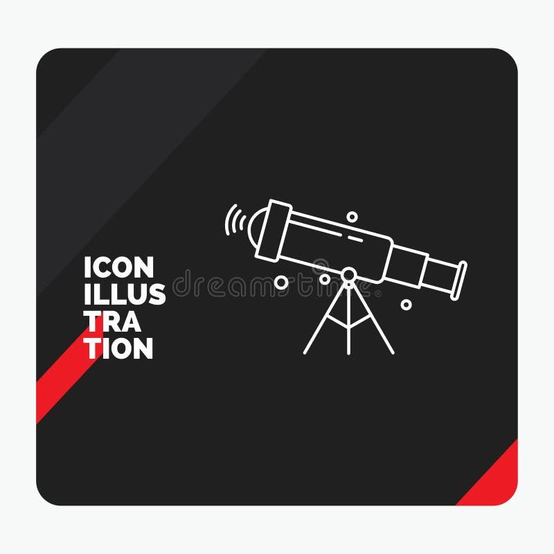 Fondo creativo rojo y negro para el telescopio, astronom?a, espacio, visi?n, l?nea icono de la presentaci?n del enfoque libre illustration