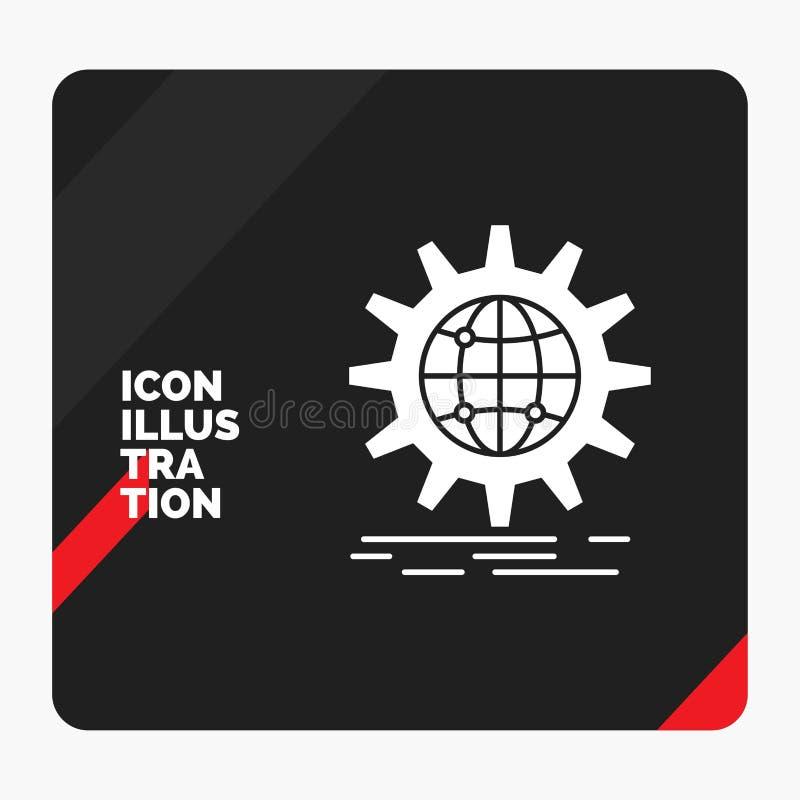 Fondo creativo rojo y negro para internacional, negocio, globo, mundial, icono de la presentaci?n del Glyph del engranaje ilustración del vector