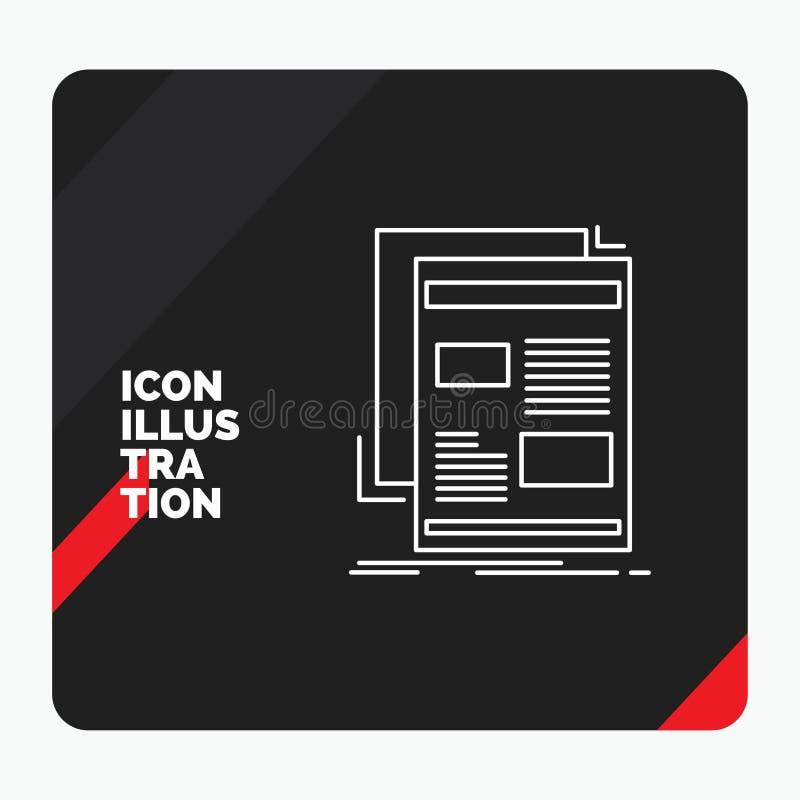Fondo creativo rojo y negro para las noticias, hoja informativa, periódico, medio, línea icono de la presentación del papel stock de ilustración