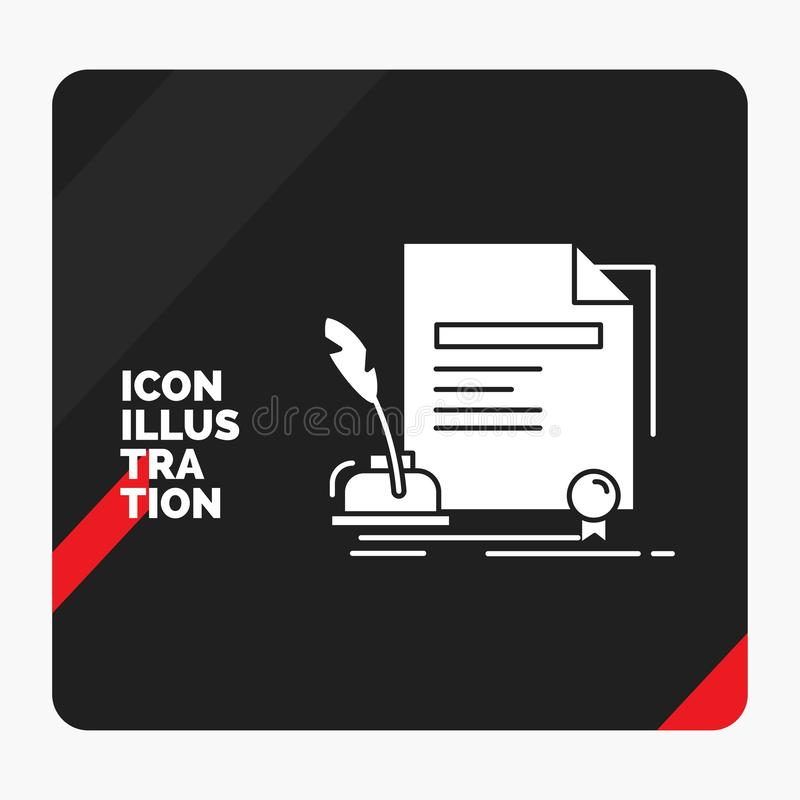 Fondo creativo rosso e nero di presentazione per il contratto, carta, documento, accordo, icona di glifo del premio illustrazione vettoriale