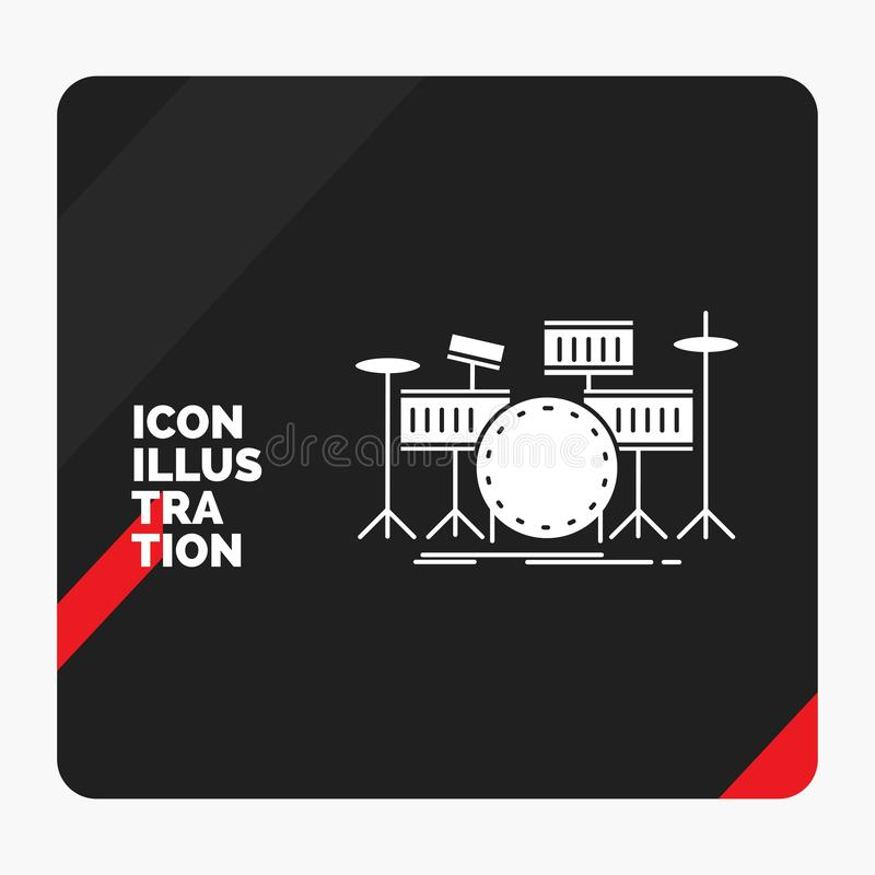 Fondo creativo rosso e nero di presentazione per il tamburo, tamburi, strumento, corredo, icona musicale di glifo illustrazione di stock