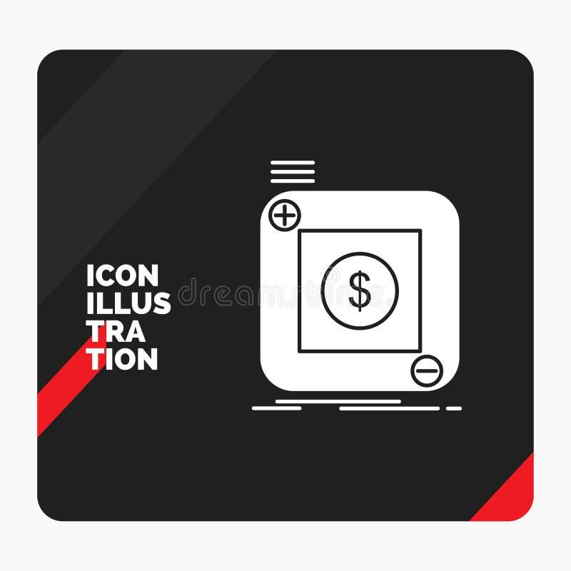 Fondo creativo rosso e nero di presentazione per l'acquisto, deposito, app, applicazione, icona mobile di glifo illustrazione vettoriale