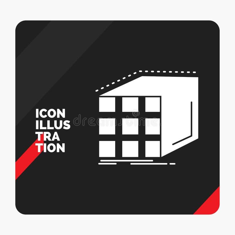 Fondo creativo rosso e nero di presentazione per l'estratto, aggregazione, cubo, dimensionale, icona di glifo della matrice royalty illustrazione gratis