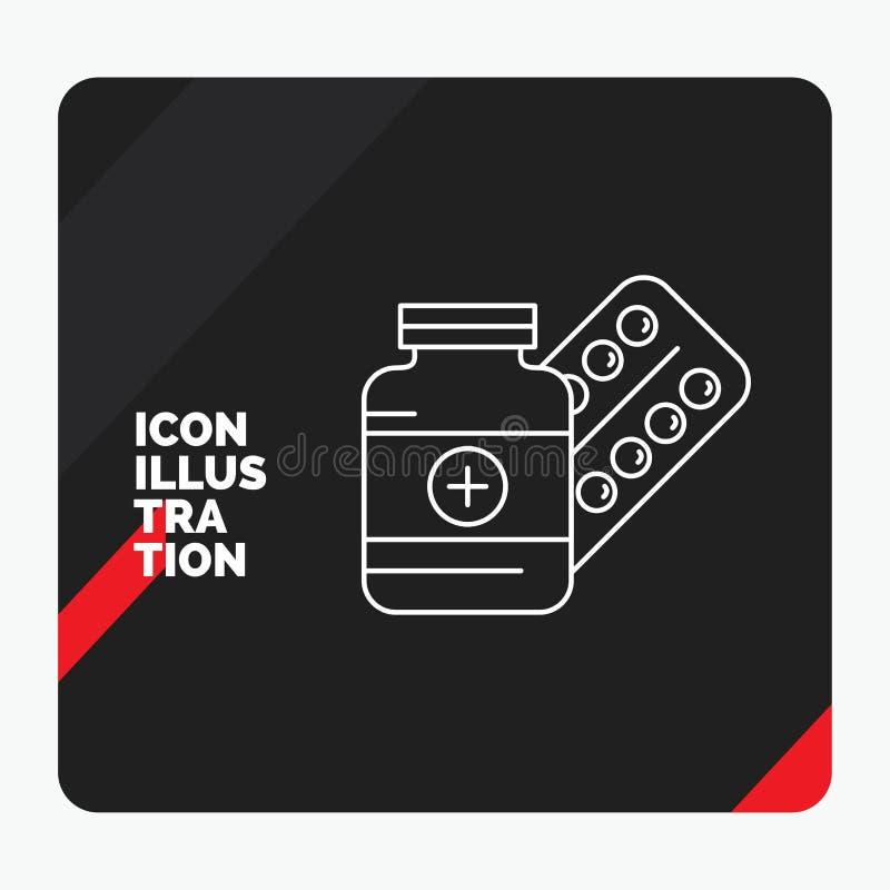 Fondo creativo rosso e nero di presentazione per medicina, pillola, capsula, droghe, linea icona della compressa illustrazione di stock