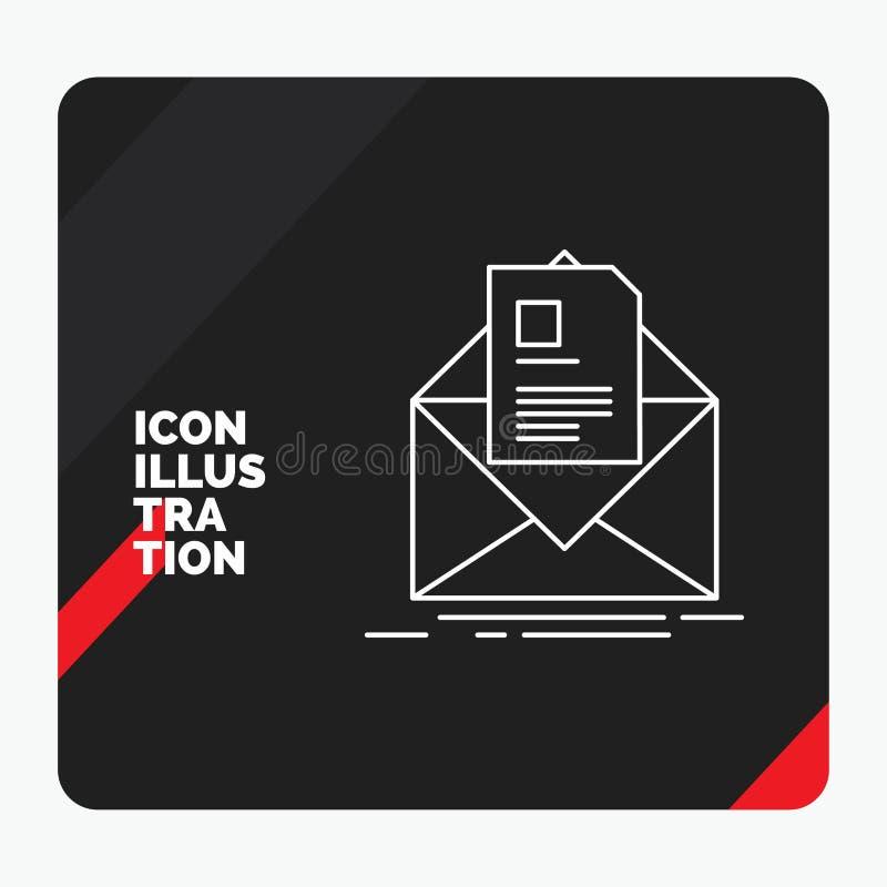Fondo creativo rosso e nero di presentazione per posta, contratto, lettera, email, riassumente linea icona royalty illustrazione gratis