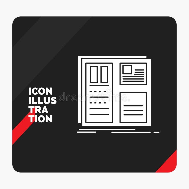 Fondo creativo rosso e nero di presentazione per progettazione, griglia, interfaccia, disposizione, icona di glifo di ui illustrazione di stock
